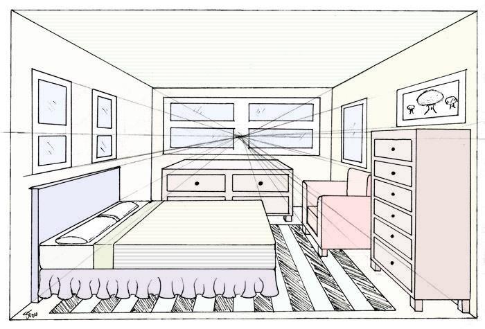 Esempi di prospettiva centrale di un interno classi iii for Disegnare una stanza in 3d
