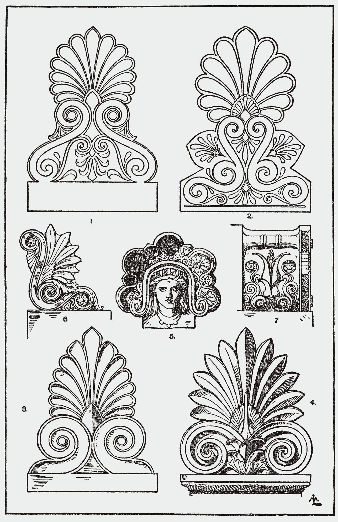 antefisse di varie forme