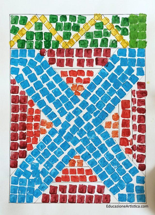 mosaico con tessere realizzate con stampino di sughero